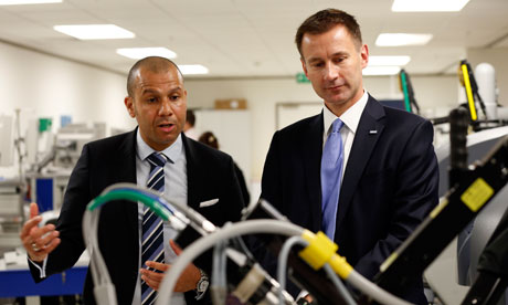 Jeremy Hunt visits University College hospital, prior to his speech on the NHS.