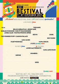 Bestival 2013 - Poster showing only acts appearing at the festival that include at least one woman