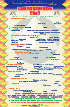 Glastonbury Festival 2013 Poster - showing only acts which include at least one female musician