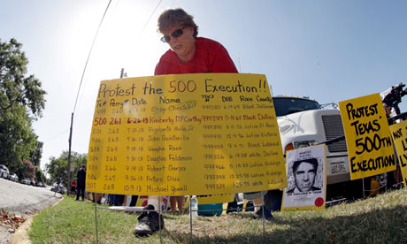 A protest against the execution of Kimberly McCarthy