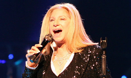 Barbra Streisand on stage at the O2 Arena, London