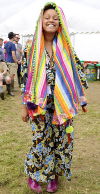 Gemma Cairney grinning at Glastonbury 2013
