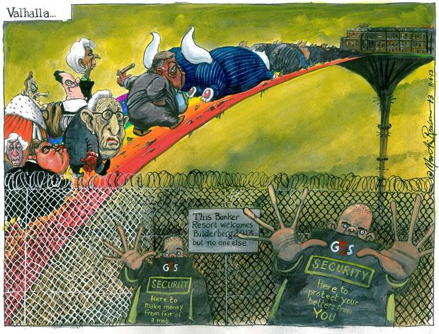 Valhalla... cartoon by Martin Rowson on Bilderberg, The Guardian, Friday 7 June 2013