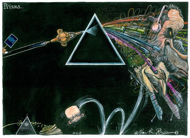 Prisms... cartoon by Martin Rowson on the NSA surveillance revelations