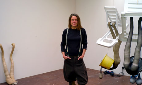 Sarah Lucas in her Suffolk studio