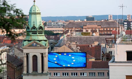 Welcome … The EU flag flying in Zagreb.