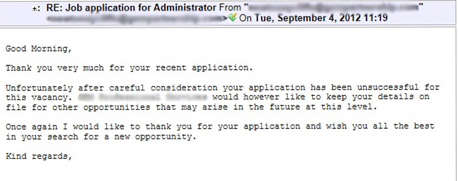 job application rejection letter email Sending a rejection letter at all is a thoughtful what is the best applicant rejection email for a if the application rejection is after.