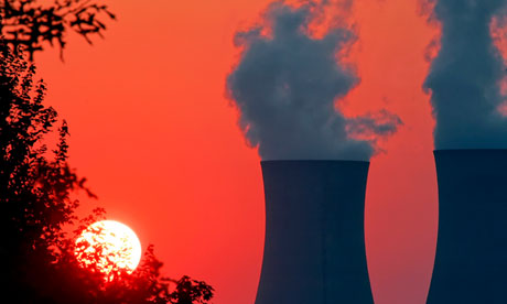 The sun sets on the cooling towers of a nuclear power station in Limerick, Pennsylvania.