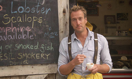ben fogle at a fish stall