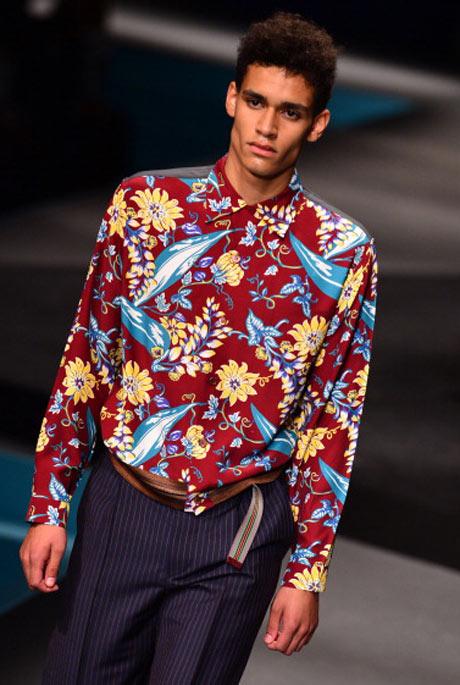 Menswear: florals on the catwalk at Prada
