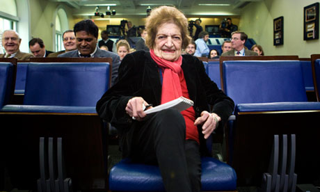 Helen Thomas in her front-row seat at a White House press briefing in 2008.