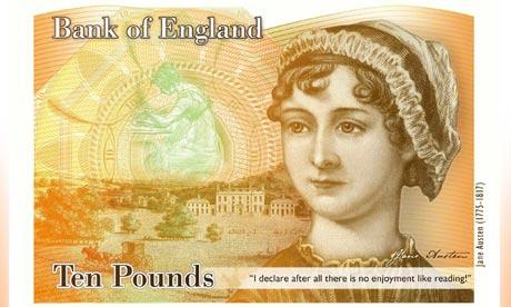 British £10 banknote showing Jane Austen
