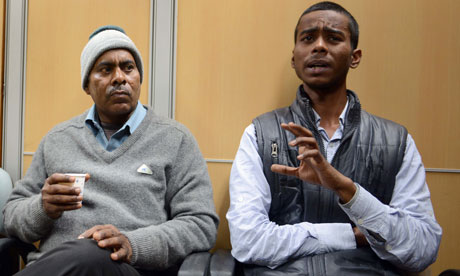 Badhri and Gaurav Singh, relatives of Indian gang rape victim