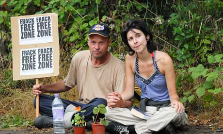 Natalie Hynde (right), daughter of singer Chrissie Hynde, at the Cuadrilla fracking site in Balcombe