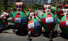 Large inflated cartoon animals bearing signs saying 'Revolution. Not a coup' in Port Said, Egypt