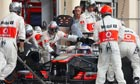 Jenson Button makes a pitstop at the Bahrain Grand Prix