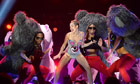 Miley Cyrus performing at the MTV awards show