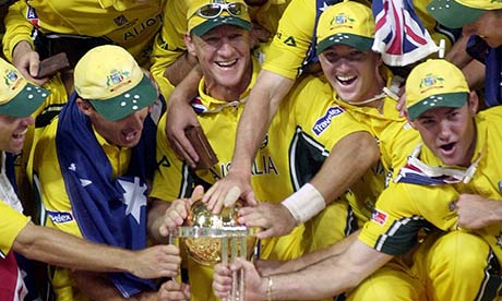 The Australian cricket team celebrate winning the World Cup trophy 2003