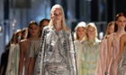Models present Roberto Cavalli's new work at Milan fashion week
