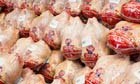 Whole chickens on display at a Costco Wholesale Warehouse Club.
