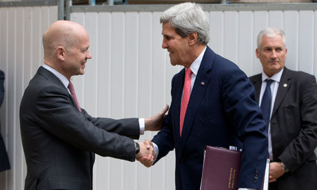 William Hague greets US secretary of state John Kerry outside the Foreign Office in London.