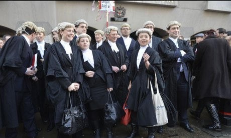 Barristers demonstrating against legal aid cuts outside the Old Bailey, London