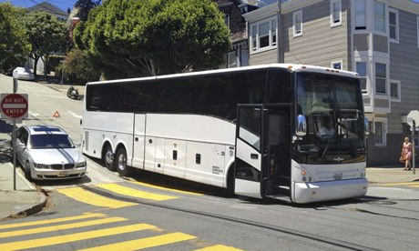 A 'Google bus' gets stuck on a street in San Francisco.