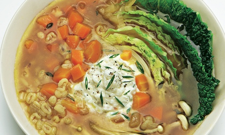 Cabbage and pot barley soup withwhipped feta