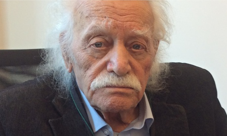 Manolis Glezos, the Greek resistance hero who is now the oldest MEP at 92, in Brussels
