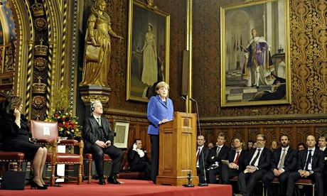 Angela Merkel makes a speech in the Royal Gallery at the Houses of Parliament