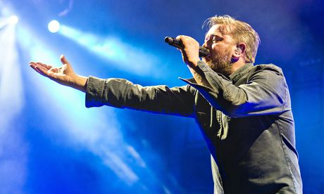 Guy Garvey onstage with Elbow at the O2, London, April 2014