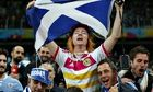 Mark McConville waves Scottish flag, England v Uruguay, World Cup 2014