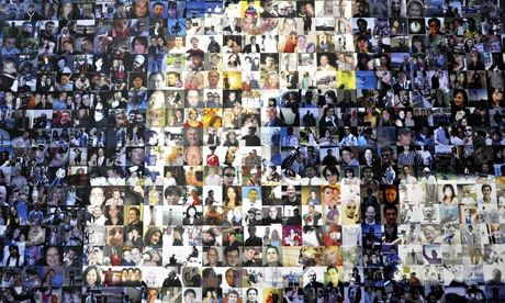 collage of faces forming facebook logo