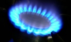 Blue gas flame of a gas cooker against dark background