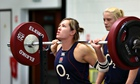 England flanker Marlie Packer warms up in the gym during the Women's Rugby World Cup in Paris.