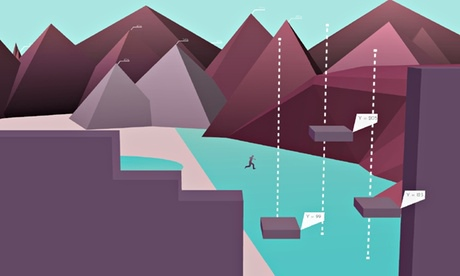 Metrico landscapes twist and warp under the player's feet.