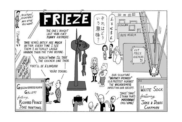 Frieze art fair artoon by Peter Duggan