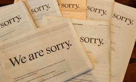 Newspapers display apology from Rupert Murdoch