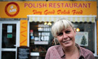 Anna Sokolowska outside a Polish Restaurant in Boston, Lincolnshire