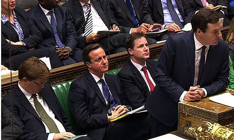 from left, Danny Alexander, David Cameron, and Nick Clegg listen to George Osborne in the Commons