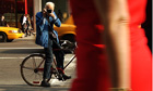 Photographer Bill Cunningham shooting on the street in New York