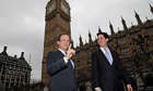French presidential candidate François Hollande with Labour leader Ed Miliband outside Parliament
