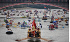 The royal shallop Jubilant leading a flotilla of 1,000 boats in the jubilee Thames river pageant.