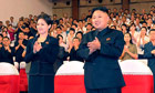 official news agency pic showing country's leader, Kim Jong-un, with wife, Ri Sol-ju in Pyongyang. 