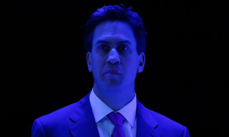 Labour Party leader Ed Miliband under stage lighting at the party's annual conference in Manchester