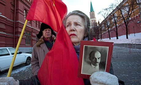 Lenin's embalmed corpse edges nearer the exit of his Red...