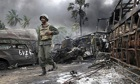 Sri Lankan troops walking amongst debris inside the war zone on May 17,