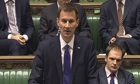 health secretary Jeremy Hunt making a statement to the House of Commons about plans for hospitals