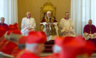 Pope Benedict XVI addressing cardinals at the Vatican as he announced he was stepping down.
