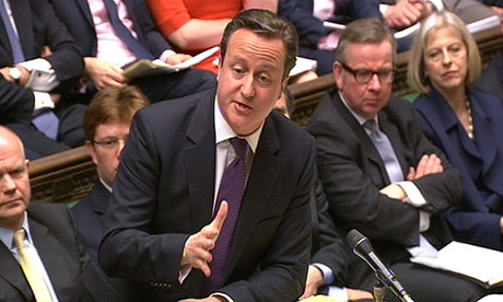 David Cameron speaks during prime minister's questions in the Commons.